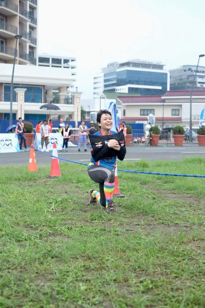 At the finish line, happy lunger