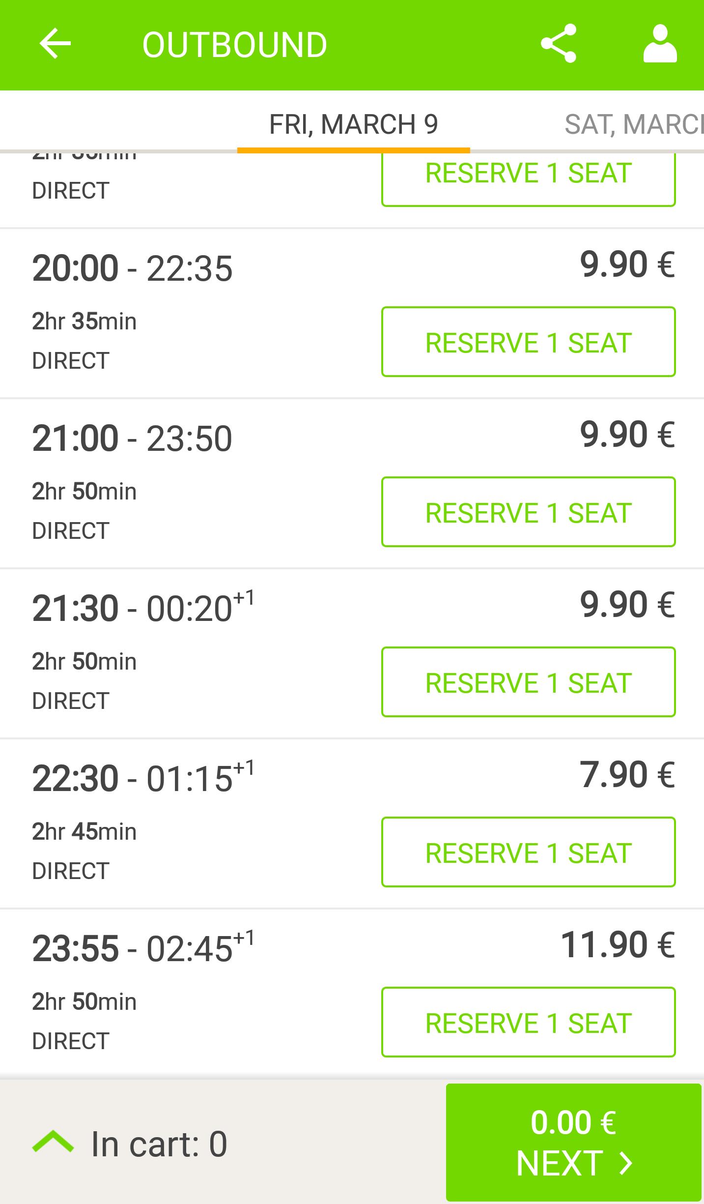 Flixbus app interface