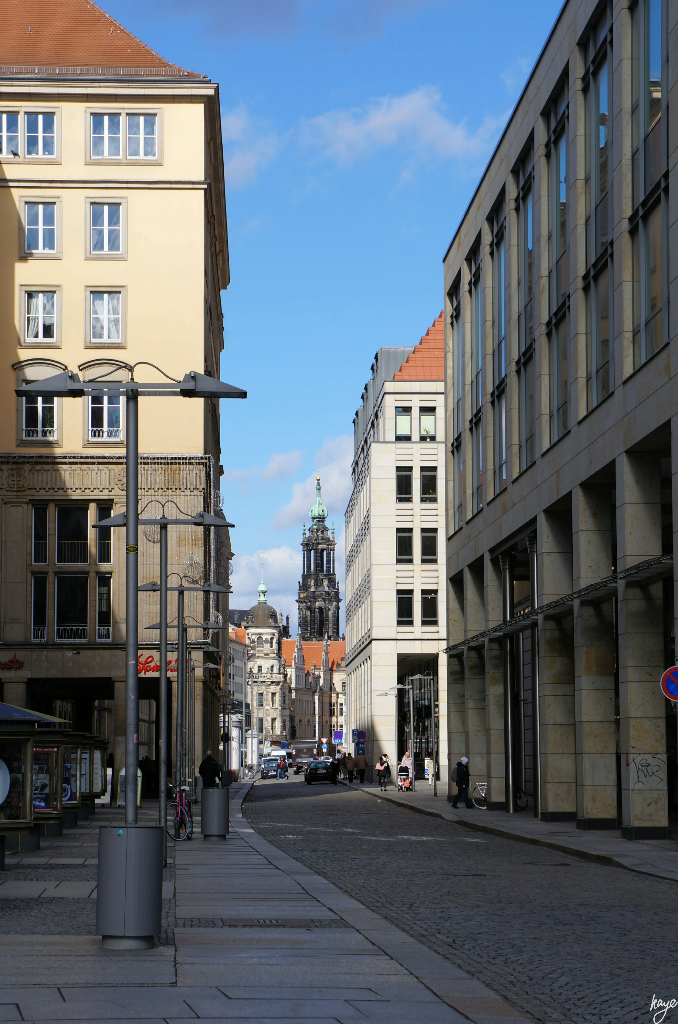 Dresden Streets approaching Kreuzkirche