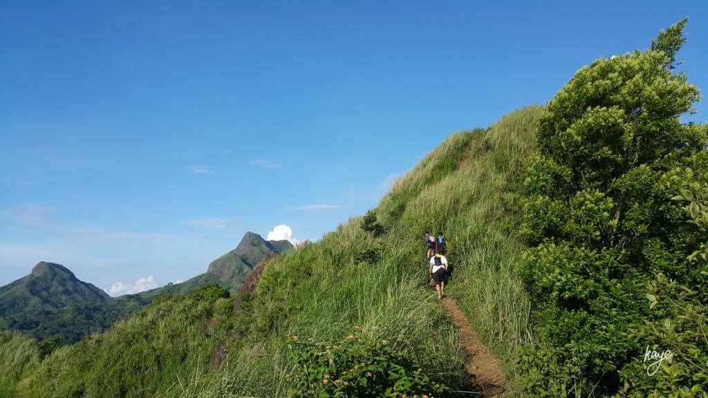 Mountain traverse, hiking group, summit view