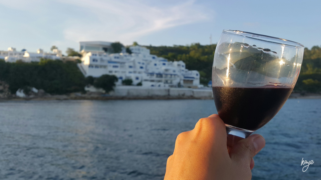 Sunset cruise with red wine around Vitalis Villas