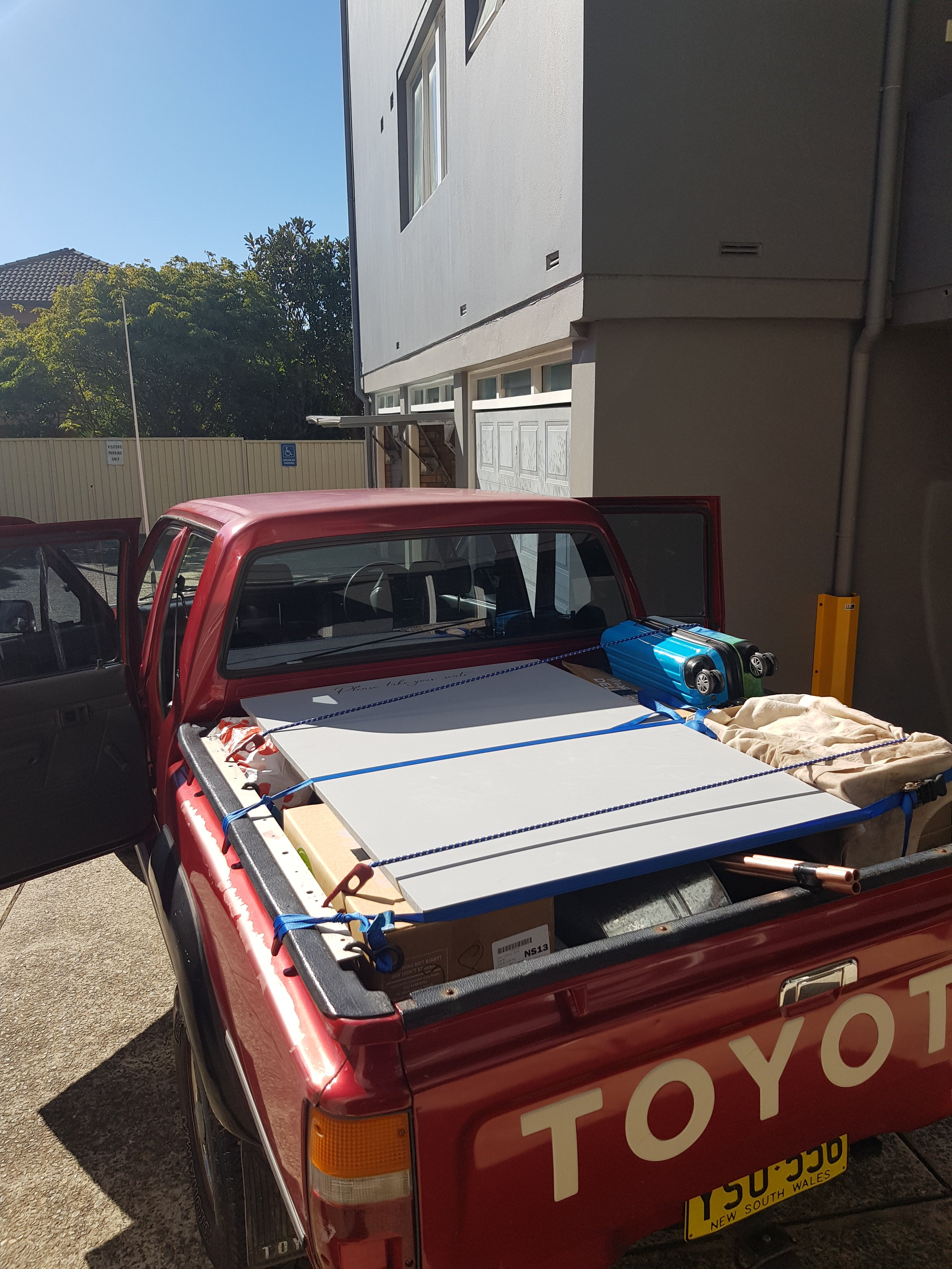 Packed pickup truck