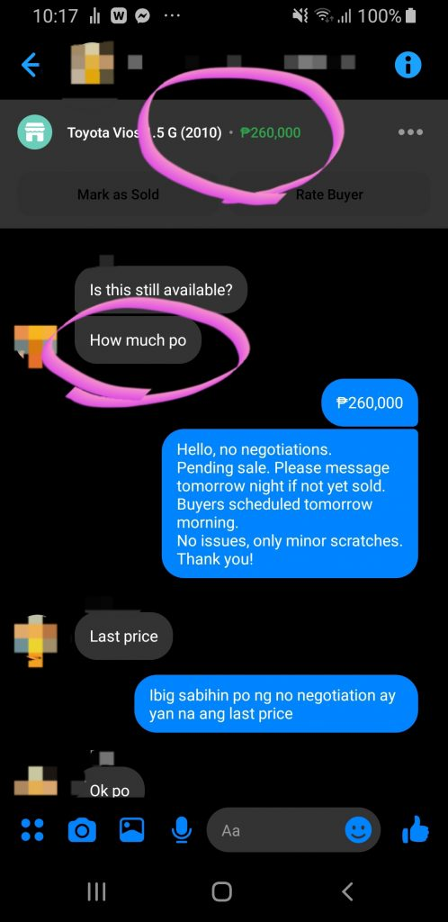Screenshot of a lazy buyer